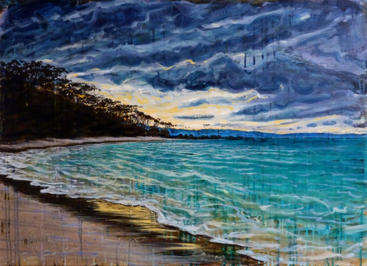 Day's End Jarvis Bay, 91cm x 66cm, oil and mixed media on linen, 2018