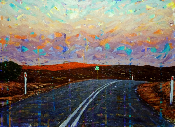 Leaving Silverton, 50cm x 38cm, oil on canvas, 2018, $750 AUD