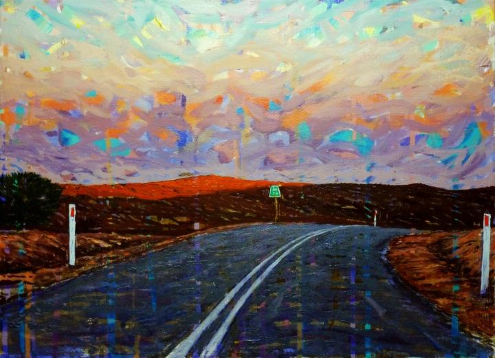 Leaving Silverton, 50cm x 38cm, oil on canvas, 2018, $750 AUD