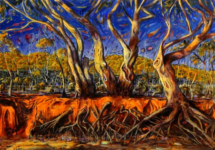 Dry Riverbank, Mutawinjti, 70cm x 50cm, oil on canvas, 2018, $1200 AUD