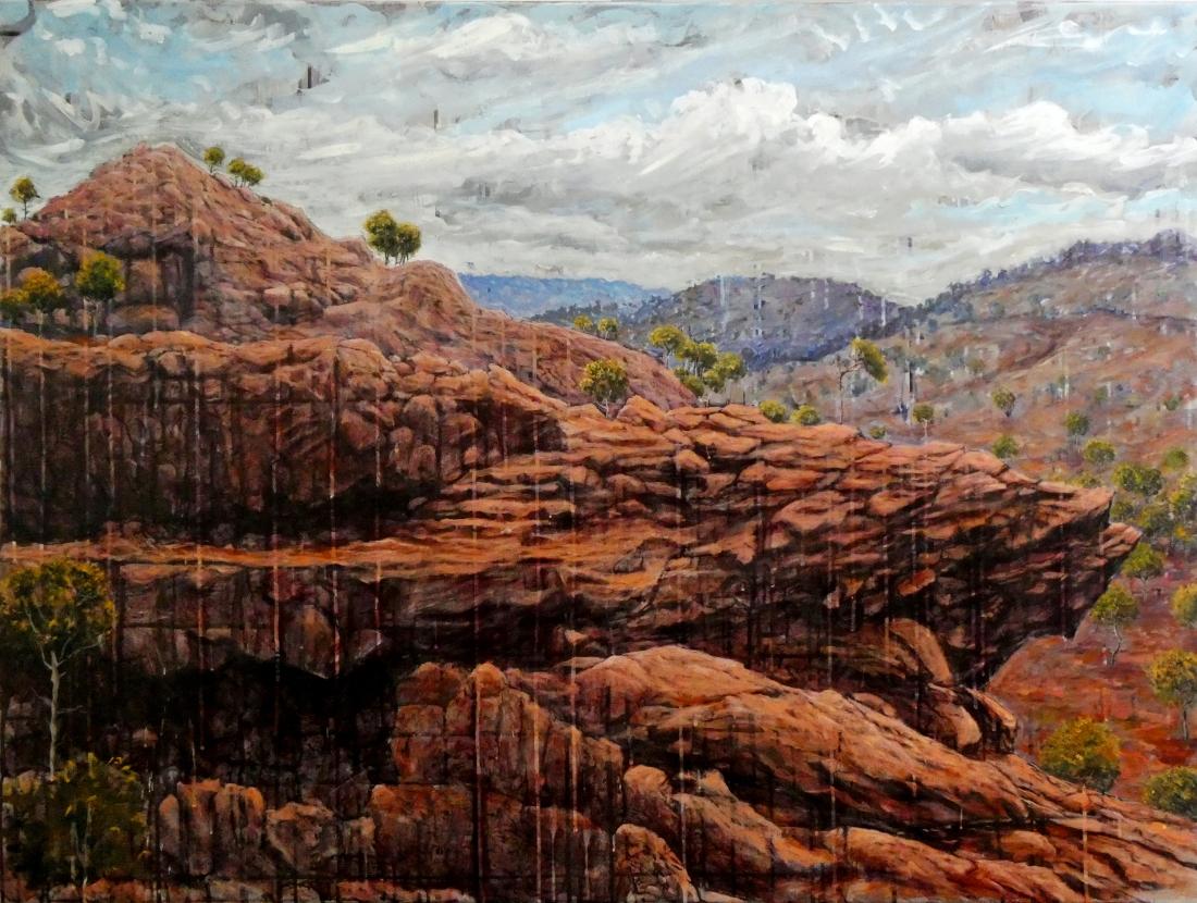Boomerang Rock, Mutawinjti, 1.2m x 90cm, oil on canvas, 2018
