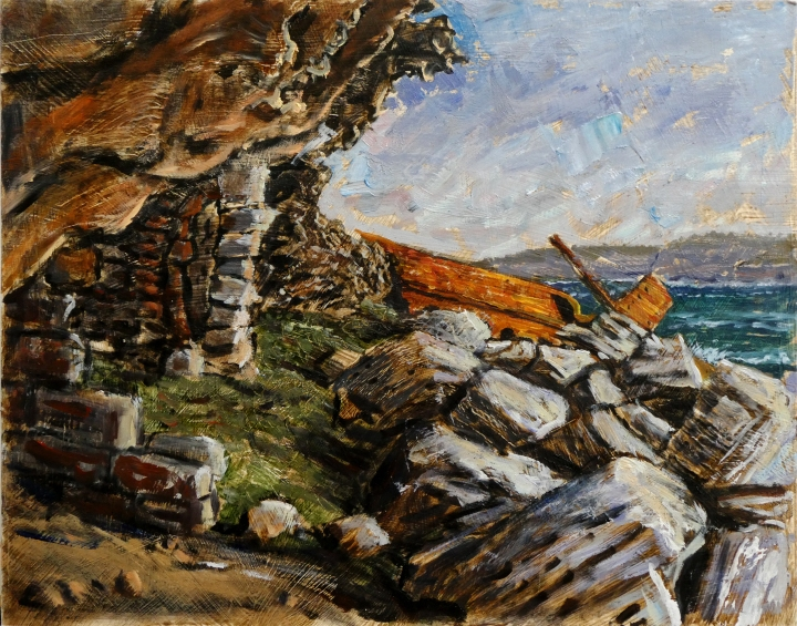 Brewer's Hut and the wreck of the SS Minmi35cm x28cm, oil on board, 2018,