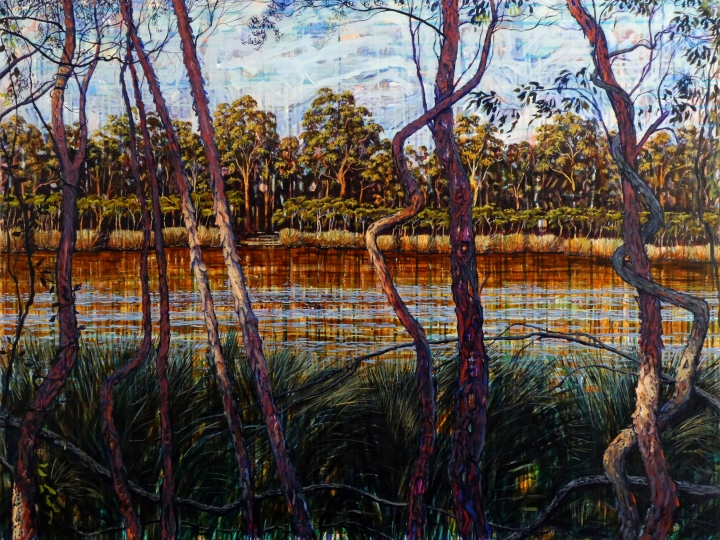 Here and There- Glenbrook Lagoon, 1.2metres x 90cm, oil on canvas. 2018