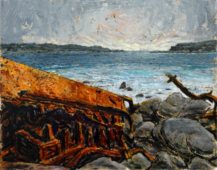 Wreck of the SS, 35cm x 28cm, oil on board, 2018