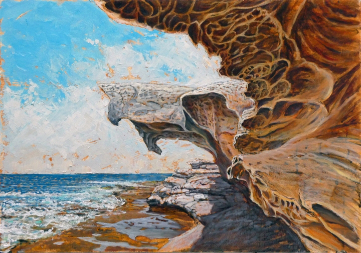 Shark Rock, 59cm x42cm, oil on board, 2018, This picture will be offered for sale in July 2019 at Project 90 Gallery Paddington