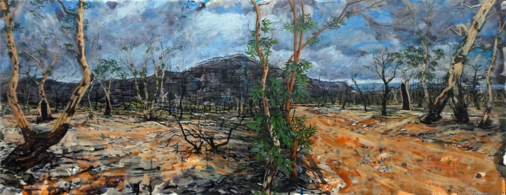 The Road to Mount Hay, acrylic on board, 128cm x 49cm, 2020