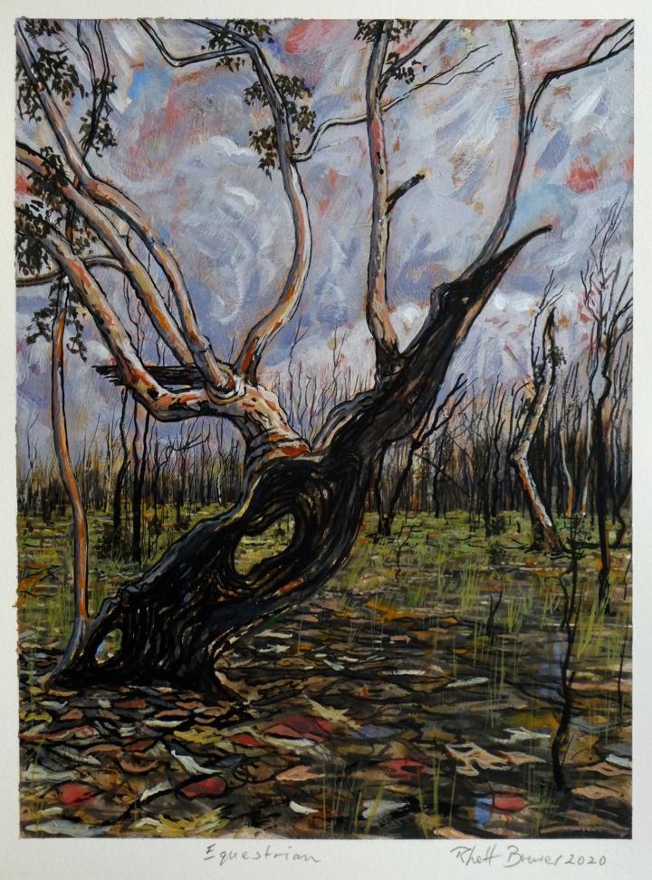 Equestrian, 39cm x 28cm, acrylic on 640 g.s.m. watercolour paper, 2020