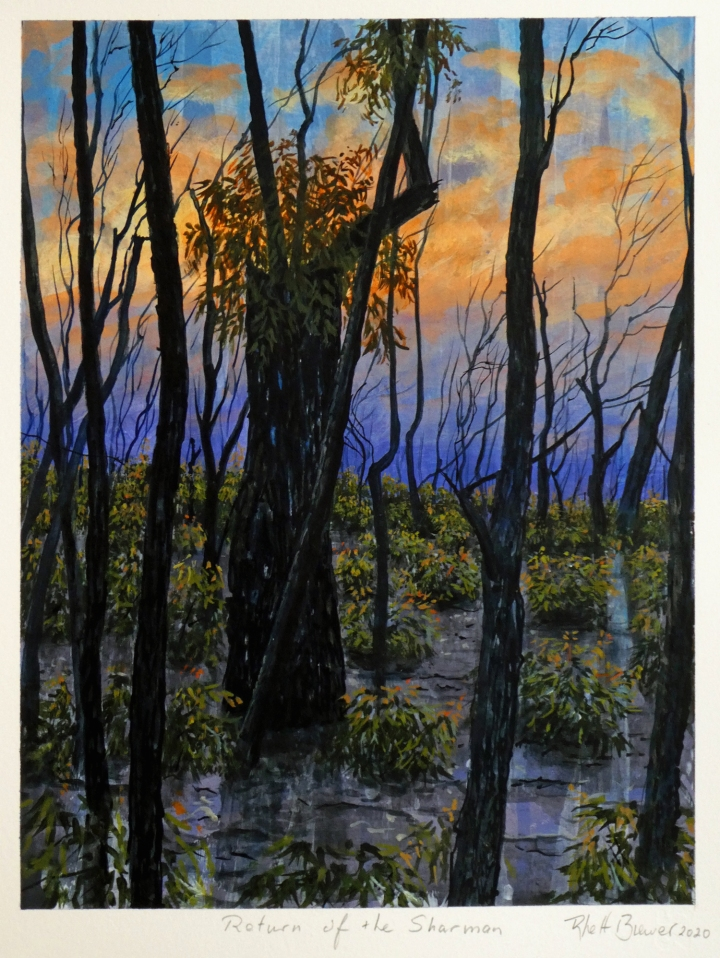 Return of the Sharman, 39cm x 28cm, acrylic on 649 g.s.m. watercolour paper, 2020