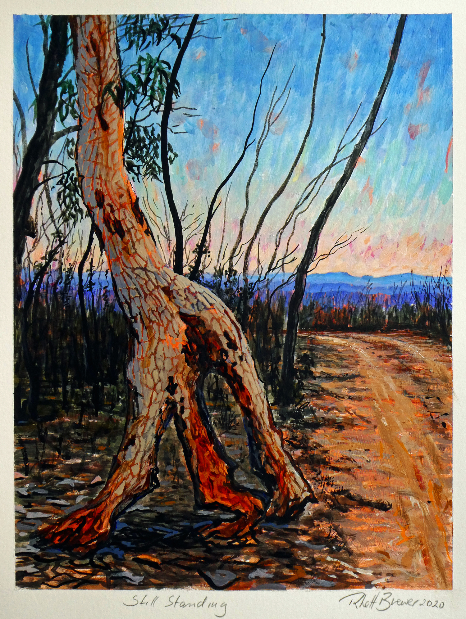 Still Standing,  39cm x 28cm, acrylic on 640 g.s.m. watercolour paper, 2020