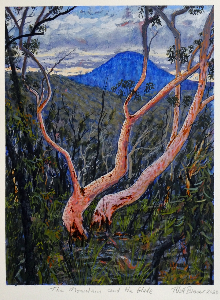 The Mountain and the Glade, 39cm x 28cm, acrylic on 640 g.s.m. watercolour paper, 2